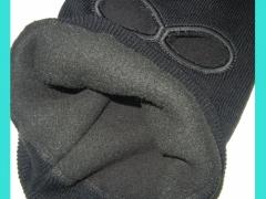 Шлем маска вязанная на флисе с прорезью для глаз и рта черная, М-10